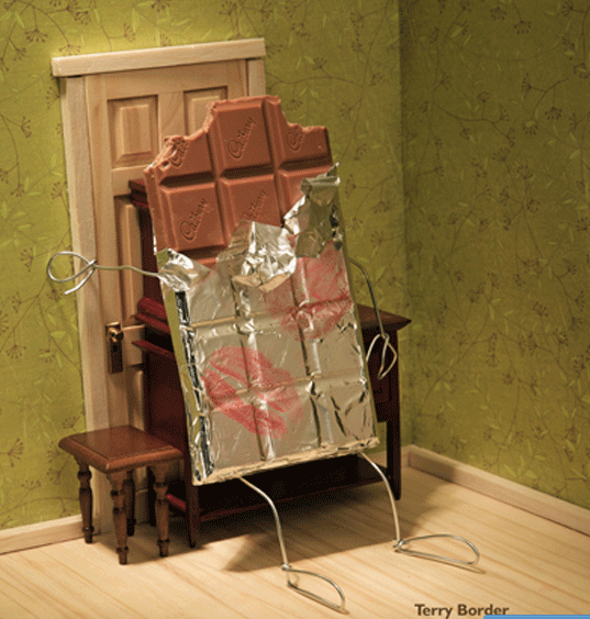 chocolate bar barricading the door bent art